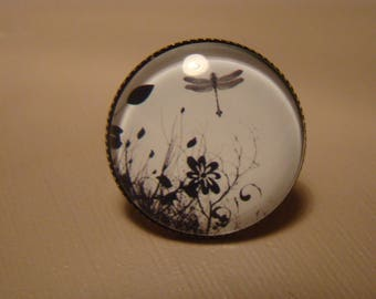 Black Dragonfly glass cabochon ring