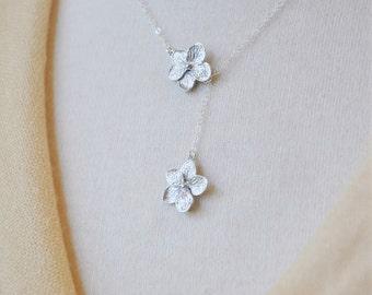 Silver Plumeria Lariat Necklace / Plumeria Necklace/Plumeria Jewelry/ Silver Flower Necklace/ Feminine Necklace/ Hawaii Necklace/ Dainty