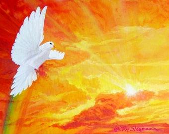 FLYING SOLO - painting, art, dove, rainbow, hippie, retro, bohemian, giclee