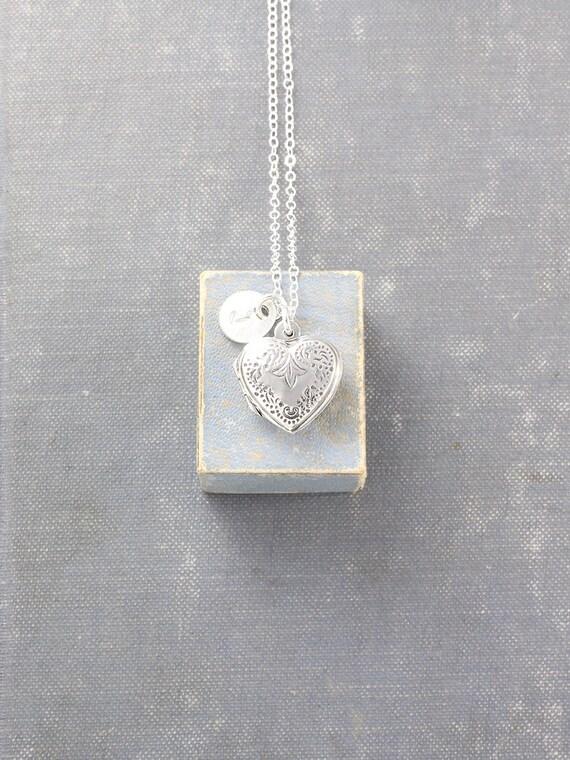 Sterling Silver Heart Locket Necklace, Personalized Jewelry Custom Initial Charm - Fleur-De-Lis