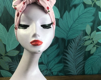 Cherry print Pink & Red turban bow