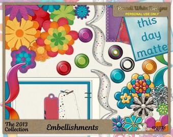 Clip Art Embellishments, Digital Scrapbook Elements, Digital Flowers, Scrapbooking Printables