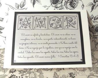"Spanish Engagement / Marriage Greeting Card ~ ""El Amor es sufrido y bondadoso..."" Love / Amor Scripture ~ 1 Corinthians 13:4-8"