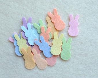 20 Piece Die Cut Wool Blend Felt, Small Gummy Bunnies, Pastel Colors