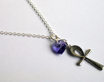 Egyptian Ankh Necklace ~ with a Choice of Swarovski Heart Colour ~ Eternal Life ~ Ankh Jewelry ~ Ankh Pendant ~ Egyptian Necklace