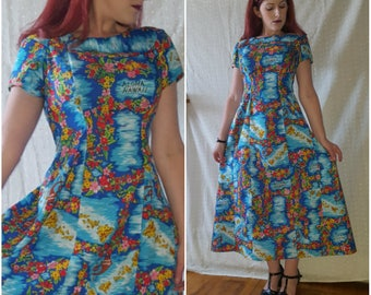 Vintage Hawaiian Dress, Blue, Floral Print, '60s '70s, Luau
