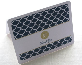 Sand Dollar Thank You Card - Beach Wedding Note Card Gift Set of 10 - Personalized