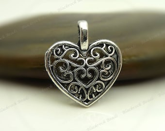 Bulk 24 Heart Shaped Charms 18x15mm Antique Silver Tone - Filigree Heart  - BP35