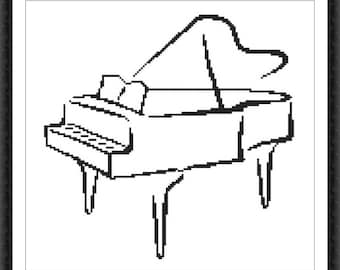 Piano Modern Cross Stitch Pattern PDF Chart Instant Download Black&White Cross Stitch