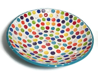 Turquoise Serving Bowl - Large Ceramic Serving Bowl with Rainbow Circles