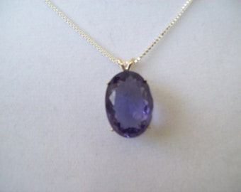 Created Amethyst Pendant in Sterling Silver
