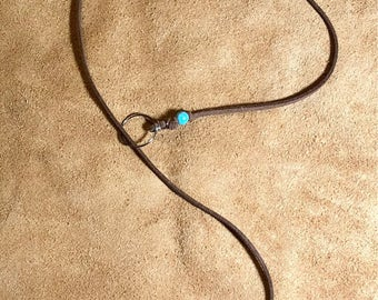 Turquoise bead leather necklace