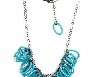 Turquoise Blue Ovals Geometric Jingle Necklace - Adjustable Gun Metal Chain - Statement vintage lucite necklace
