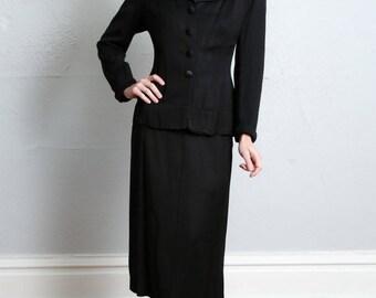 1940s Suit 3 Piece Set . Blazer Skirt & Blouse