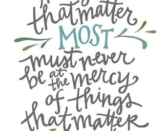 Things That Matter Poster: PDF, Digital Download, Handwritten