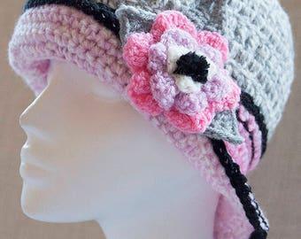 Handmade Brimmed Crochet Hat With Detachable Flower Broach