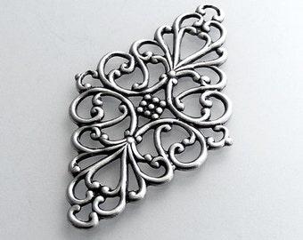 LuxeOrnaments Oxidized Sterling Silver Plated Filigree Diamond (1 pc) 44x26mm B835--VJS G-06759