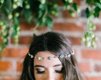 Art Deco Baguette diamond Crystal Rhinestone Bridal Vine, hair halo, headband, headdress, silver crystal, bridesmaids accessory, rhinestone
