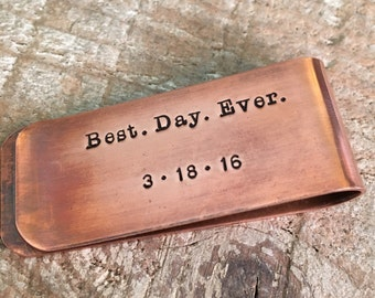 Best Day Ever Copper Money Clip, Copper Anniversary Money Clip, Wedding Date Money Clip, Couple's Monogram Money Clip, Gift For Groom