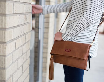 Monogrammed Crossbody Bag | Fold Over Clutch | Cross body Purse | Vegan Leather | Personalized Gift | Bridesmaid Gift | Charlotte