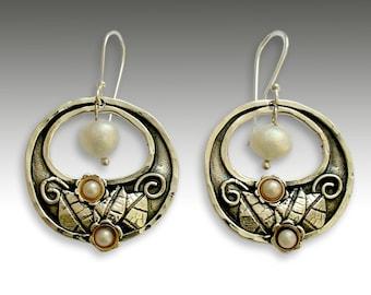 Sterling silver earrings, pearl earrings, gold silver earrings, floral earrings, botanical, botanical earrings - Hanging gardens - E2155G