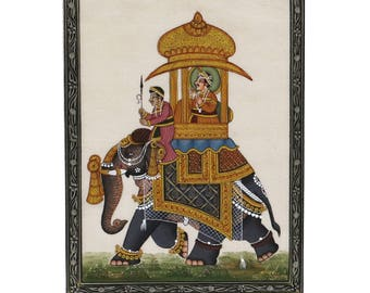 Miniature painting of Majestic Elephant Rider from Mewar School of Rajasthani miniature Art with 24 carrot Gold, made by artist Sheela