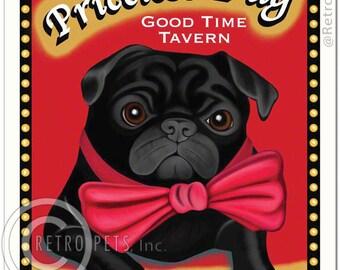 8x10 Black Pug Art - Priceless Pug Tavern - Eat, Drink & Be Puggy - Art print by Krista Brooks