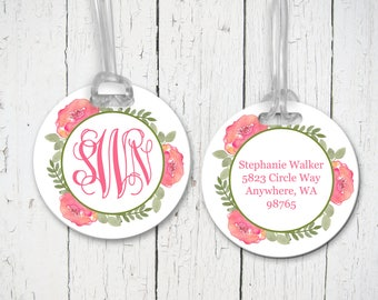 Set of 2 Vintage Flower Design Personalized Round Luggage Tags (2 Sided) - Watercolor Floral Bag Tags, Address, Luggage Tag