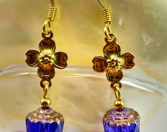 Cobalt Blue Cathedral Glass Bead Earrings with Gold Flower Connector -109A