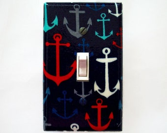 Nautical Light Switch Cover - Anchors Switch Plate - Red White Blue Nursery Decor