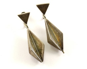 Vintage Mexico Geometric Design Rhombus Dangle Earrings 925 Sterling ER 785-E