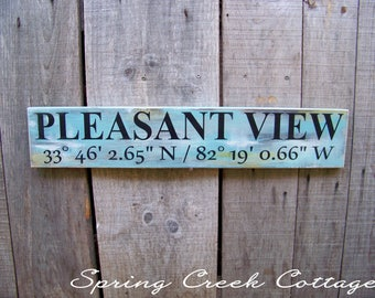 Coordinates Signs, Custom, Coordinates, Latitude, Longitude, Rustic, Handpainted, Housewarming Gifts, Anniversary Gifts, Wedding Gifts, Sign