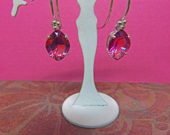 "Pink Topaz Dangle Earrings - Fancy Marquise Natural Pink Topaz  - BEAUTIFUL ""You Don't See Every Day"" Topaz Dangles"