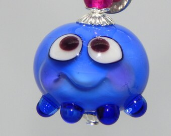 Squeedle Charm Lampwork Bead Blue Octopus Cute Character Diabetes Ocean Sealife Fun