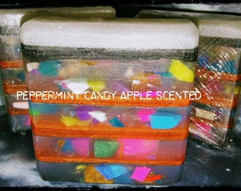 6 oz+ Peppermint candy apple scented soap bar
