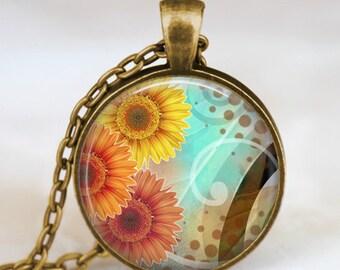 Sunflowers necklace , Sunflowers  yellow orange necklace , sunflower jewelry ,spring jewelry,  spring flower gift idea , sunshine necklace