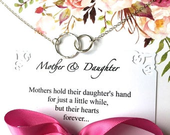 MOTHER DAUGHTER Necklace POEM Card Mother Daughter Jewelry Sterling Silver Rings Representing Mom and her Daughters Jewelry