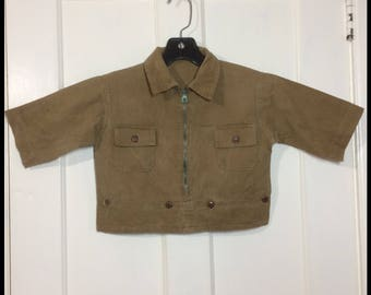 1930's baby toddler pullover zip-up shirt Talon Hookless zipper army brown olive green-ish