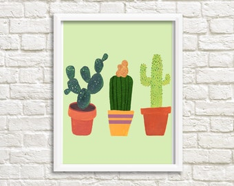 Cactus print, digital print of three cactusses, cacti, succulent, botanical print, art print, wall decoration, INSTANT DOWNLOAD (0017)