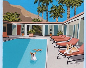 Mid Century Modern Eames Retro Limited Edition Print from Original Painting Corgis Pool