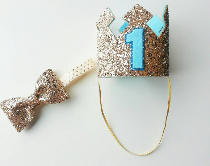 Glittery Gold and Blue Birthday Crown and Bow Tie Set | Boy Birthday | Boy Party Hat and Bow Tie | Baby Crown | Birthday Crown