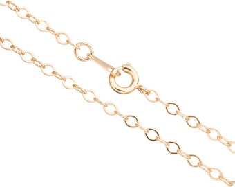 flat oval cable chain necklace with spring ring clasp 18inch 14k gold finished brass 3mm chain width 2chain