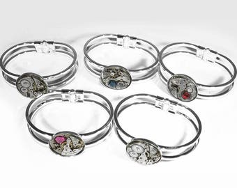 Steampunk Jewelry Cuff Women's Silver Vintage MOIRE Round Watch Steam Punk Wedding Anniversary Holiday Gift  - Jewelry by Steampunk Boutique