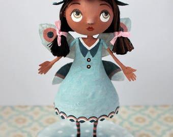 Blue Winter fairy, OOAK doll