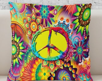 NEW!! Groovy Peace Sign Throw Pillow.  Available in Ultra-soft Microfiber, Fleece, or Polypoplin (Indoor/Outdoor Use)