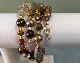 Copper Colored Spiral Wrap Bracelet