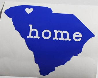 "Vinyl Decal - South Carolina ""Home"" & Heart"