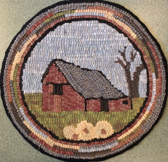 "Rug Hooking Pattern for ""Old Barn #1"" Chair Pad, on Monks Cloth or Primitive Linen, P134"