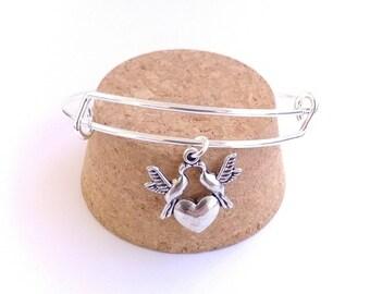Lovebird doves and heart charm bangle bracelet