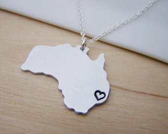 Australia Hand Stamped Initial Necklace Simple Jewelry Everyday Necklace / Gift for Her